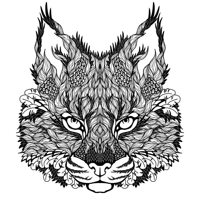 Tatuagem principal do LINCE/lince psychedelic ilustração do vetor
