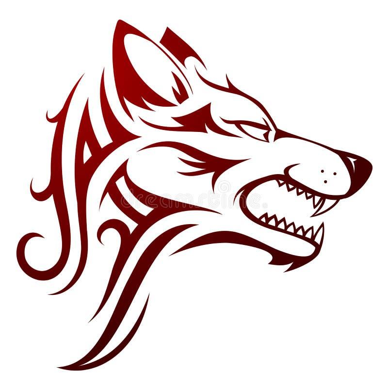 Tatuagem principal do lobo ilustração stock