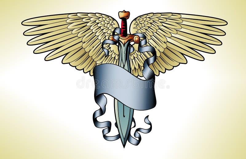 Tatuagem retro da bandeira da espada ilustração stock
