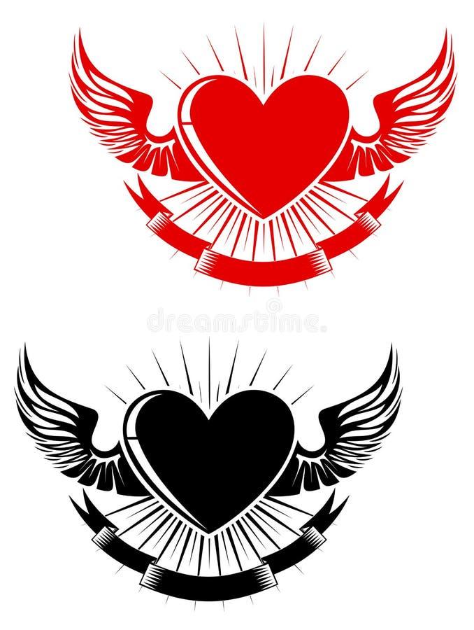 Tatuagem retro do coração ilustração do vetor