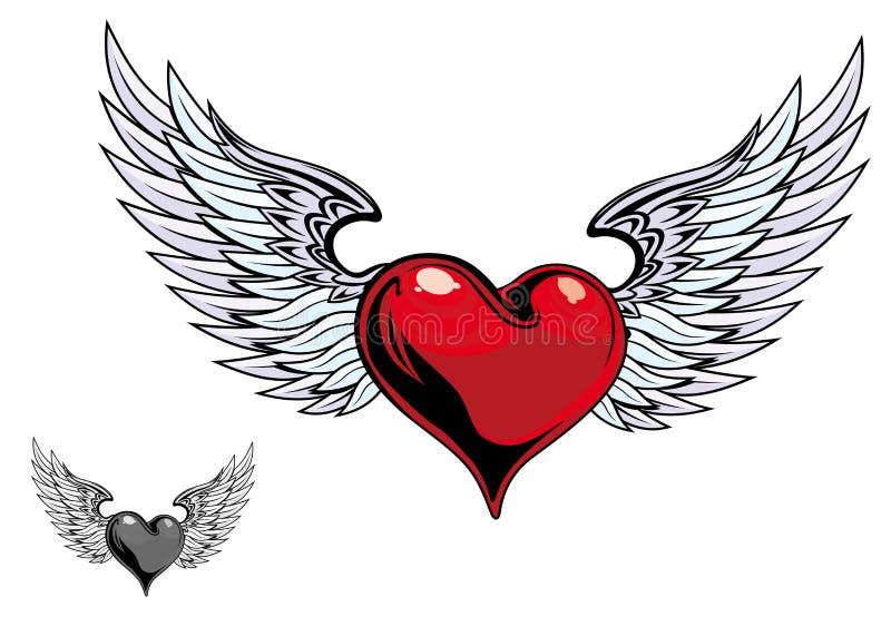 Tatuagem retro do coração da cor ilustração stock