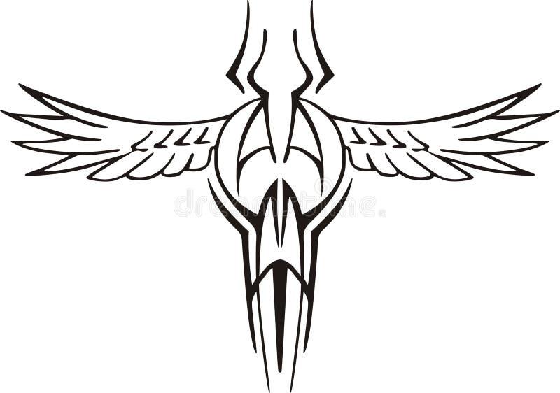 Tatuagem simétrica do pássaro ilustração do vetor