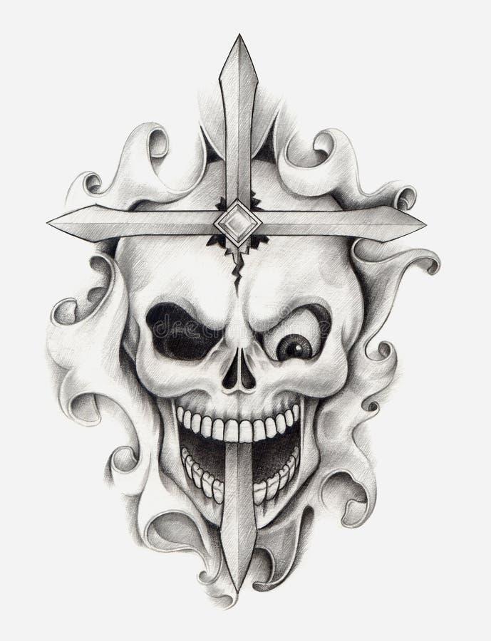 Tatuagem transversal da arte do crânio ilustração stock