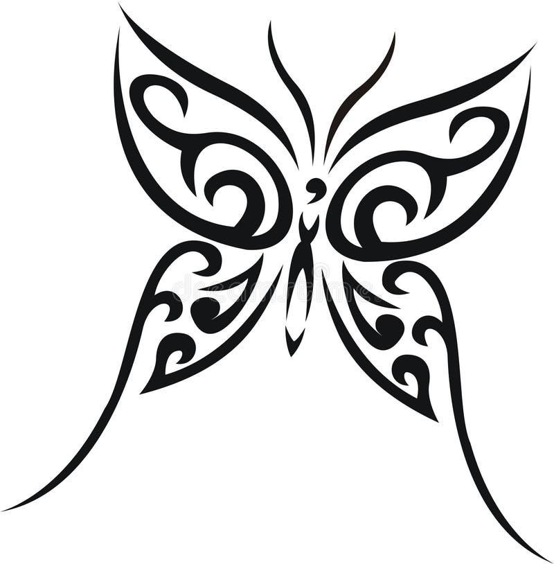 Tatuagem tribal da borboleta ilustração stock