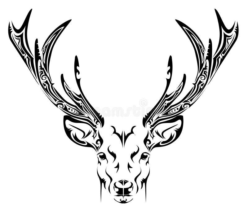 Tatuagem tribal da cabeça abstrata dos cervos ilustração royalty free