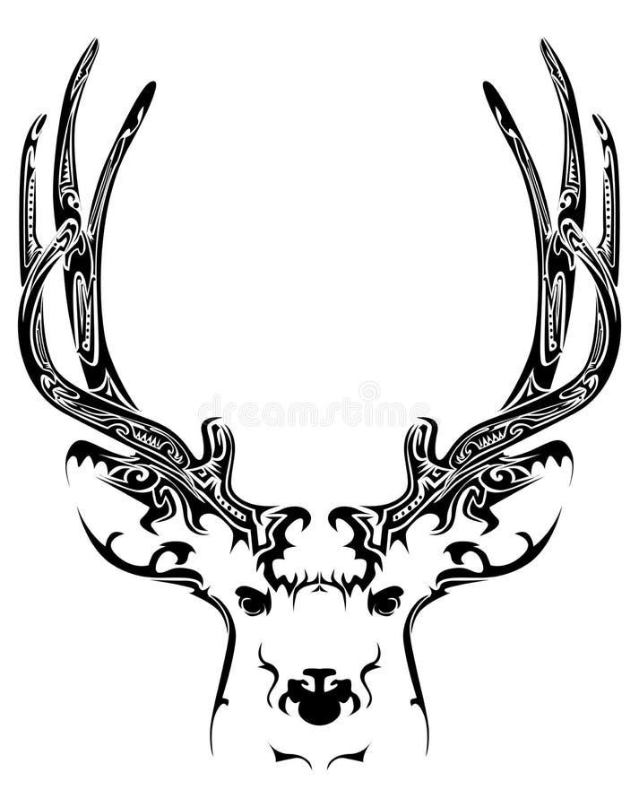 Tatuagem tribal da cabeça abstrata dos cervos ilustração stock