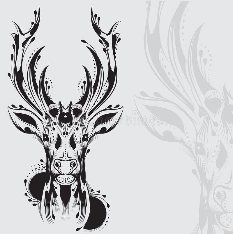 Tatuagem tribal da cabeça dos cervos ilustração royalty free