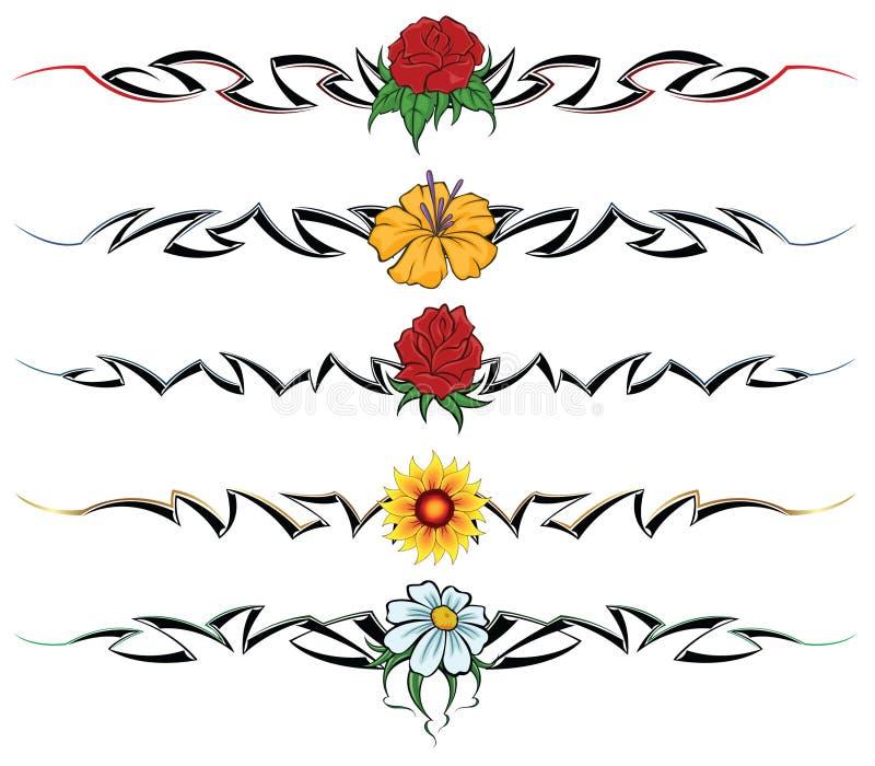 Tatuagem tribal da flor ilustração royalty free