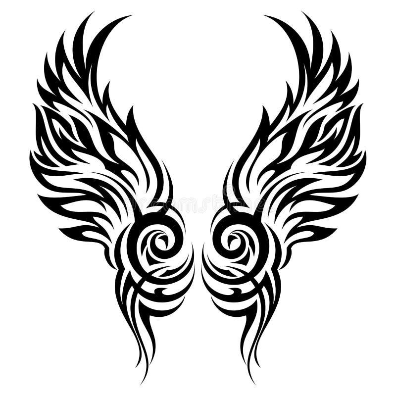 Tatuagem tribal das asas flamejantes ilustração stock