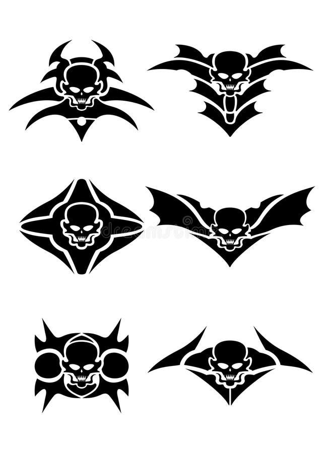 Tatuagem tribal do crânio ilustração do vetor