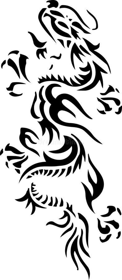 Tatuagem tribal do dragão fotografia de stock royalty free
