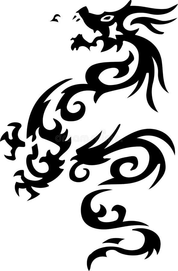 Tatuagem tribal do dragão fotografia de stock