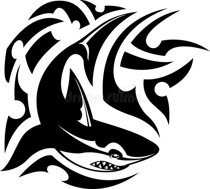 Tatuagem tribal do tubarão ilustração stock
