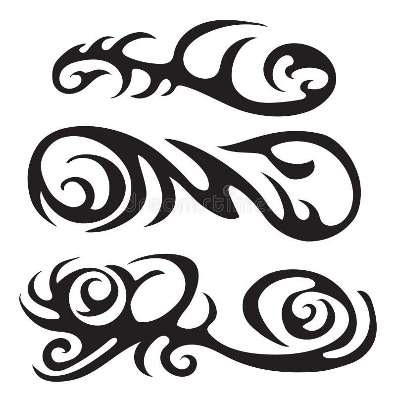 Tatuagem tribal maori - grupo de tatuagem tribal do vetor diferente no estilo polinésio ilustração do vetor