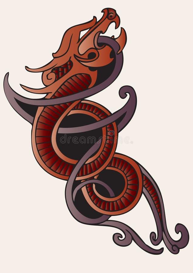 Tatuagem vermelho do dragão ilustração royalty free