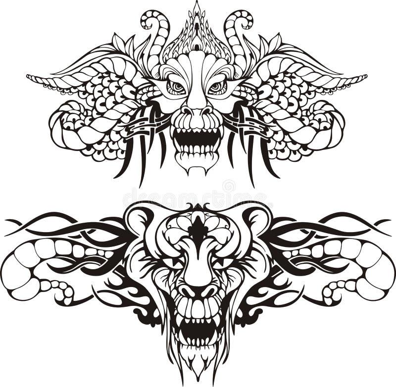 Tatuagens animais simétricos ilustração do vetor