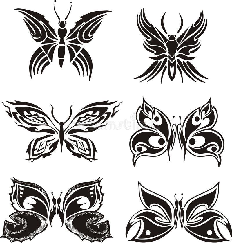 Tatuagens simétricos da borboleta ilustração stock