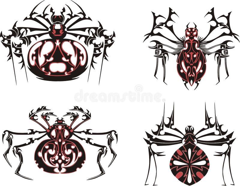 Tatuagens simétricos pretos e vermelhos da aranha ilustração stock