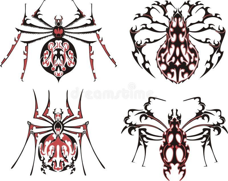 Tatuagens simétricos pretos e vermelhos da aranha ilustração do vetor