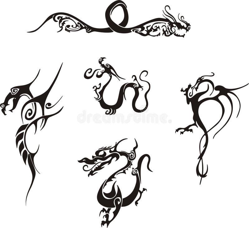 Tatuagens simples do dragão ilustração royalty free