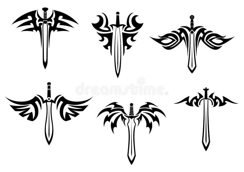 Tatuagens tribais com espadas ilustração royalty free