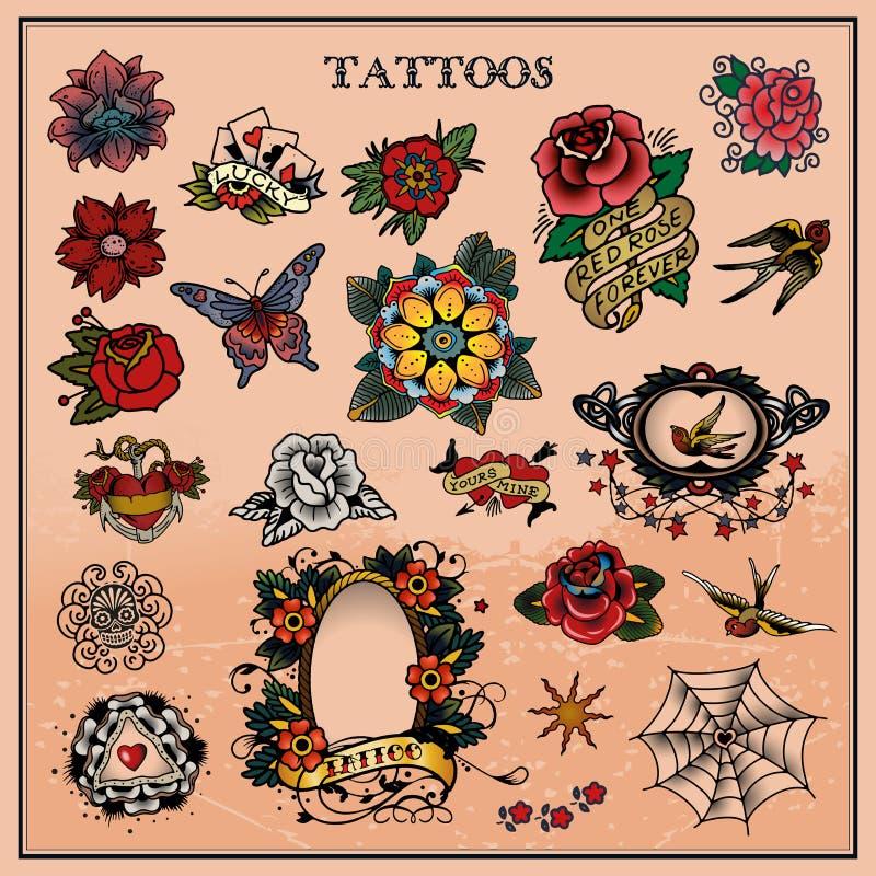 Tatuaggi, floreali, fiore illustrazione vettoriale