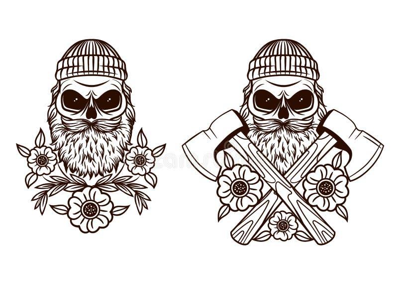Tatuaggio in bianco e nero di vettore del boscaiolo del cranio illustrazione di stock