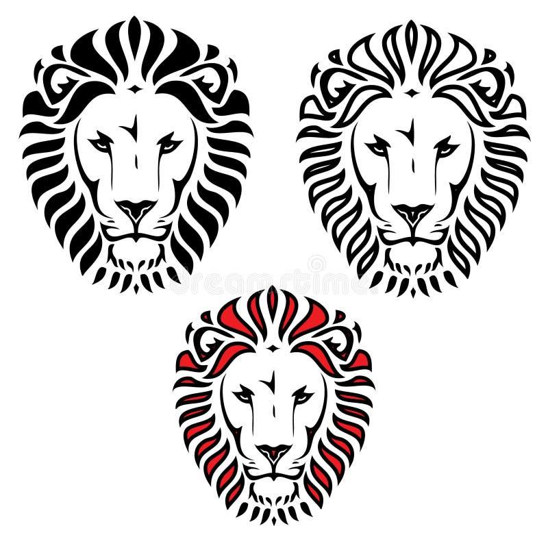 Tatuaggio capo del leone illustrazione vettoriale