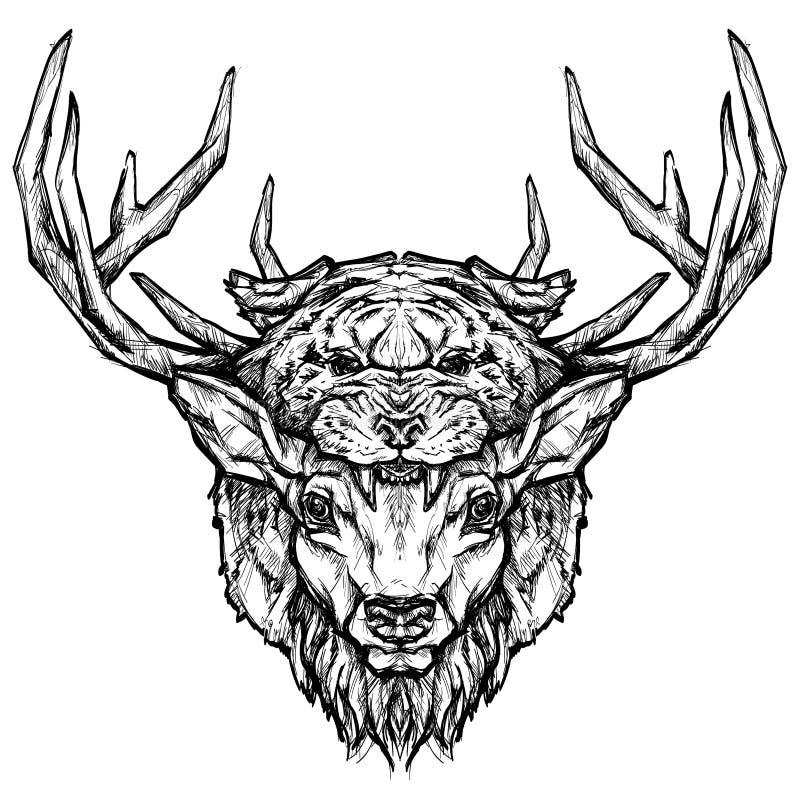 Tatuaggio capo della tigre e dei cervi Illustrazione disegnata a mano psichedelica di stile illustrazione vettoriale