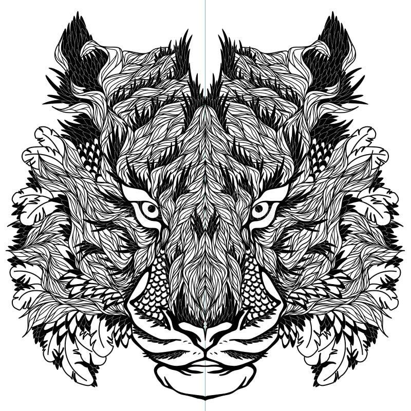 Tatuaggio capo della TIGRE psychedelic illustrazione di stock