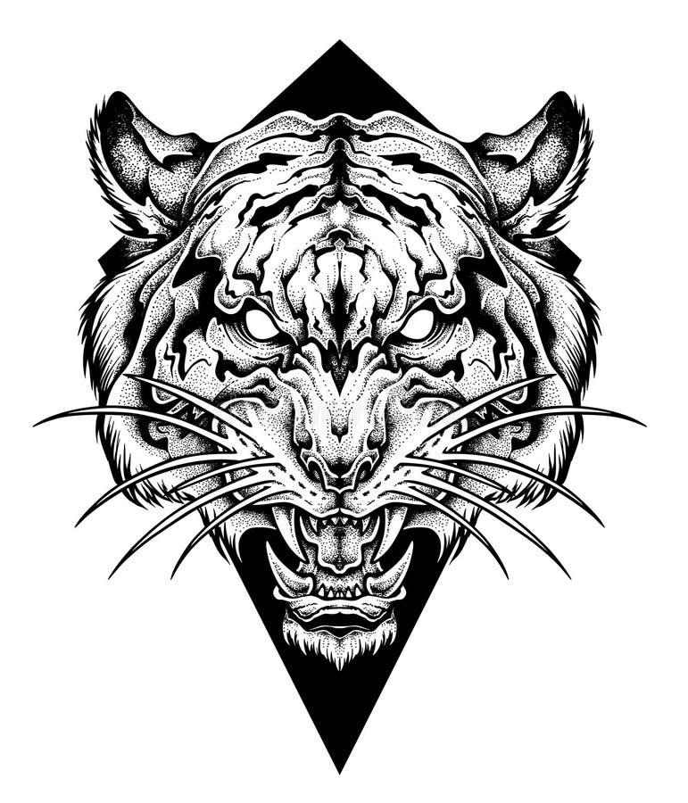 Tatuaggio capo della TIGRE Stile del lavoro del punto Illustrazione di vettore illustrazione di stock