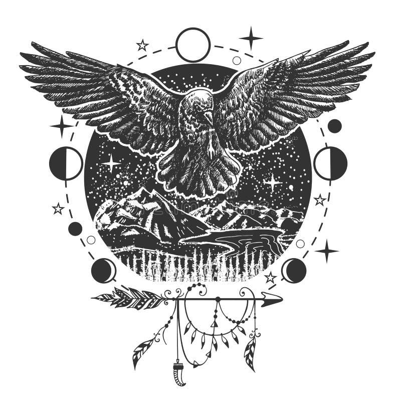 Tatuaggio del corvo del nero di vettore o progettazione della stampa della maglietta royalty illustrazione gratis