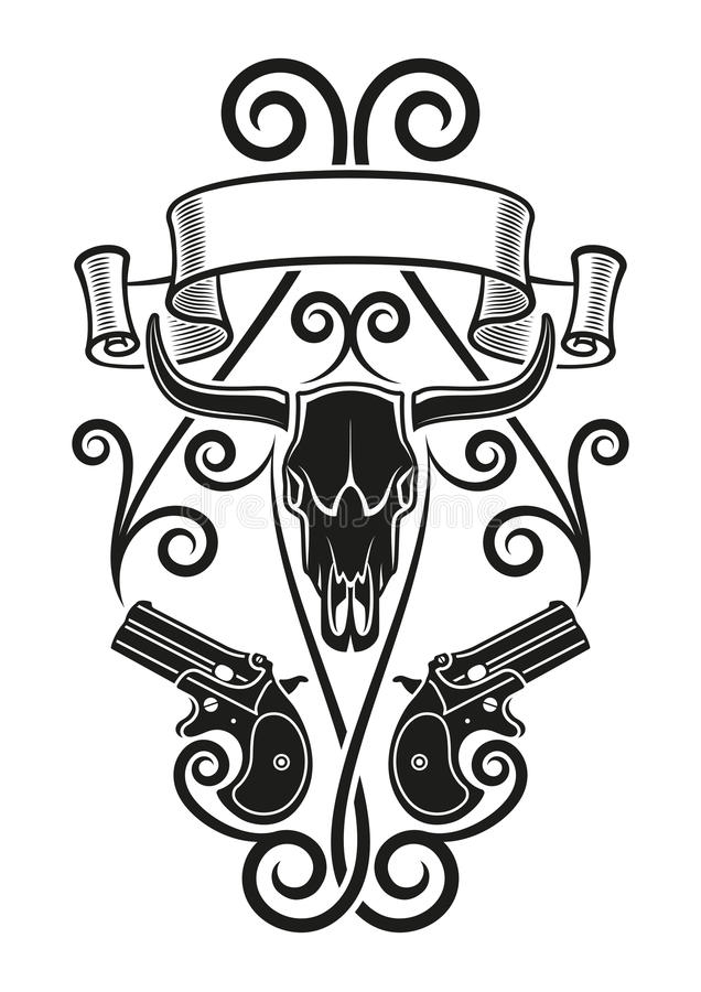 Tatuaggio Del Derringer Illustrazione Vettoriale