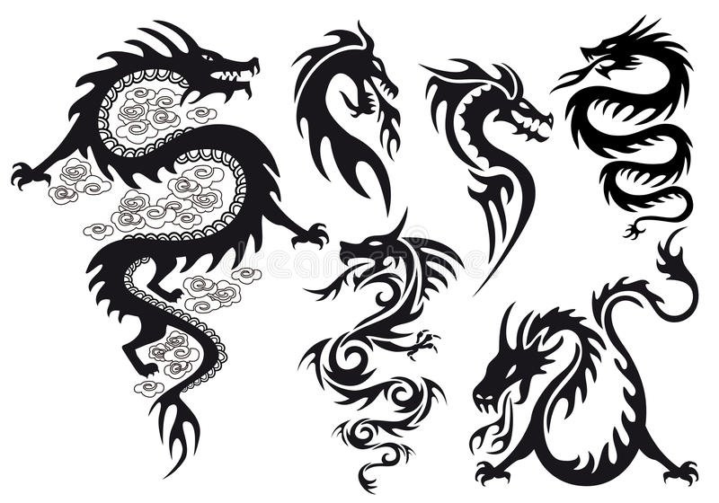 Tatuaggio del drago, vettore illustrazione di stock