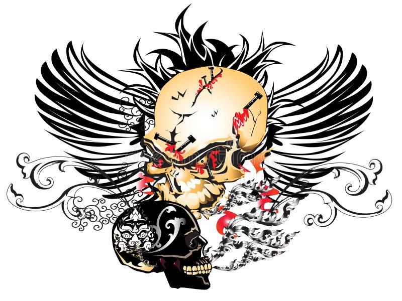 Tatuaggio del reticolo del cranio di arte illustrazione vettoriale