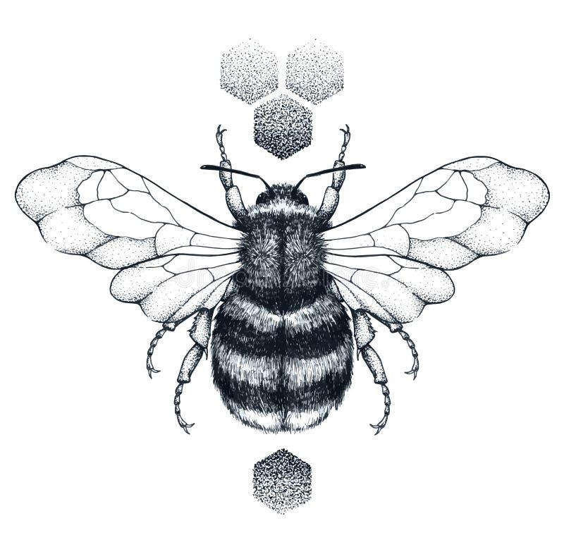 Tatuaggio dell'ape e del favo del miele Tatuaggio di Dotwork Simbolo di diligenza illustrazione vettoriale