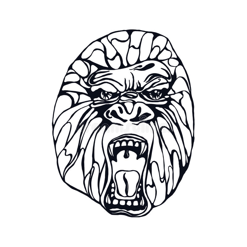 Tatuaggio della gorilla di ringhio royalty illustrazione gratis