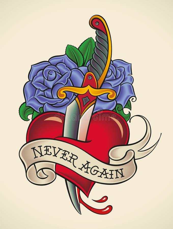 Tatuaggio della vecchia scuola - pugnale attraverso cuore illustrazione vettoriale