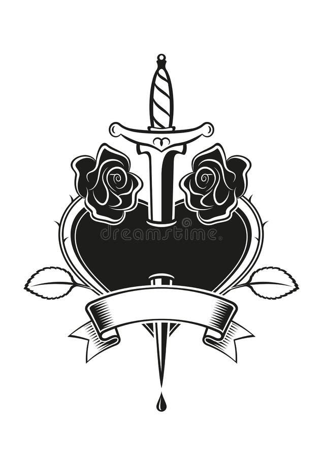 Tatuaggio Delle Rose Del Cuore Illustrazione Vettoriale