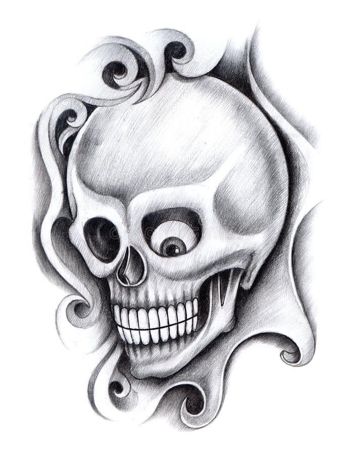 Download Tatuaggio Di Arte Del Cranio Illustrazione di Stock - Illustrazione di anatomia, umano: 55355133