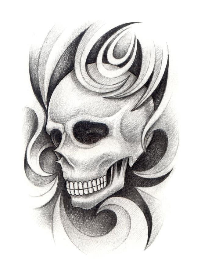 Download Tatuaggio Di Arte Del Cranio Illustrazione di Stock - Illustrazione di benissimo, artista: 55355137
