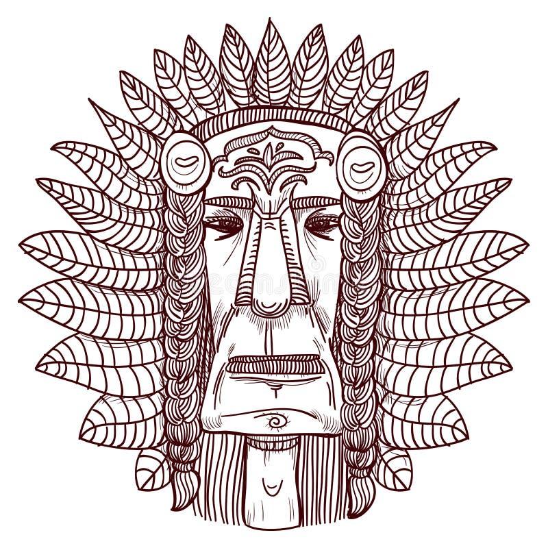 Tatuaggio di vettore con il fronte indiano - illustrazione illustrazione vettoriale