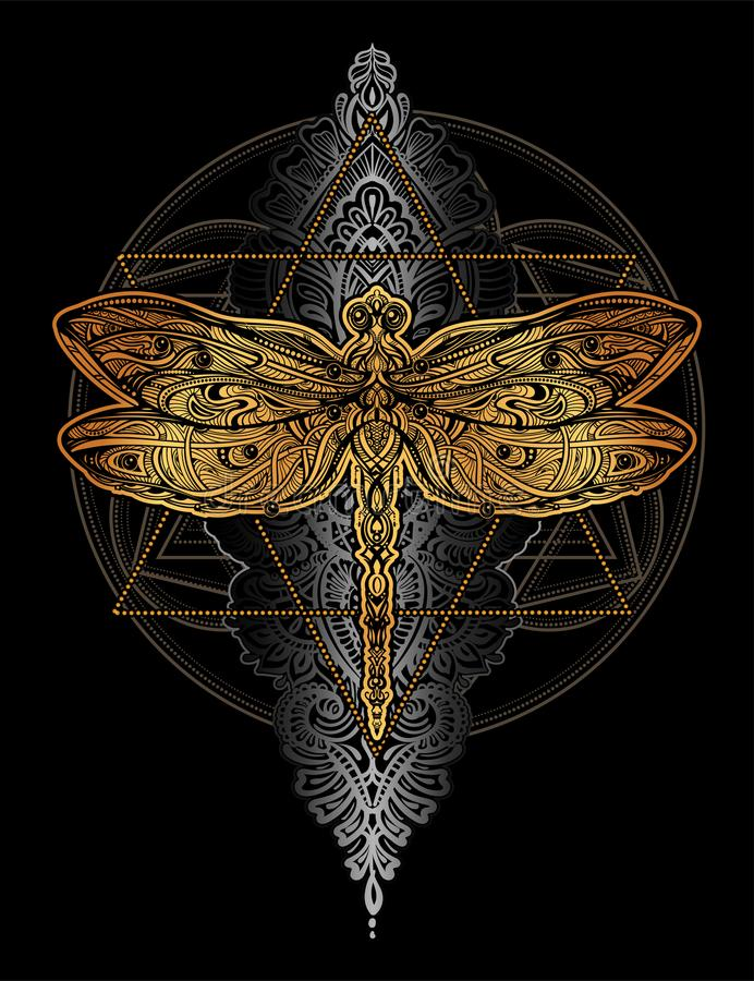 Tatuaggio di vettore della libellula royalty illustrazione gratis