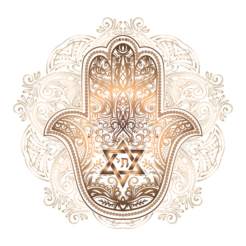 Tatuaggio ebreo di hamsa illustrazione vettoriale
