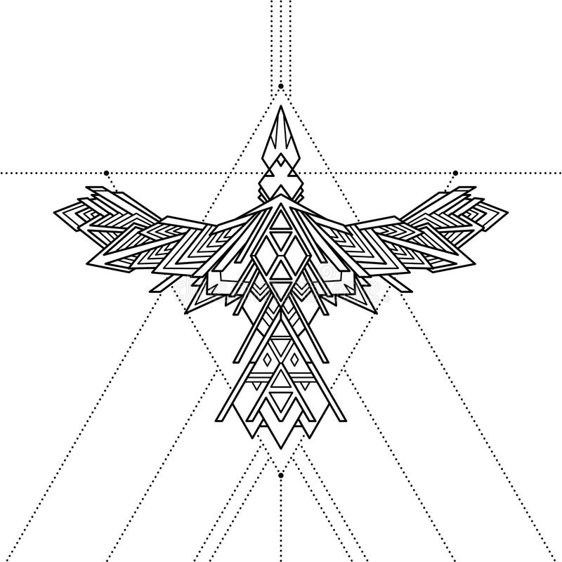 Tatuaggio geometrico tribale del corvo, illustrazione di vettore royalty illustrazione gratis