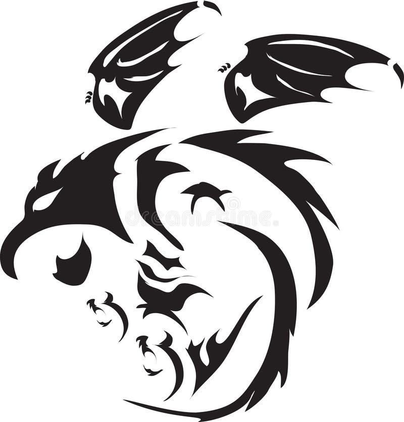 Tatuaggio nero di volo del drago di vettore fotografia stock libera da diritti