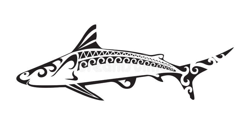 Tatuaggio ornamentale dello squalo royalty illustrazione gratis