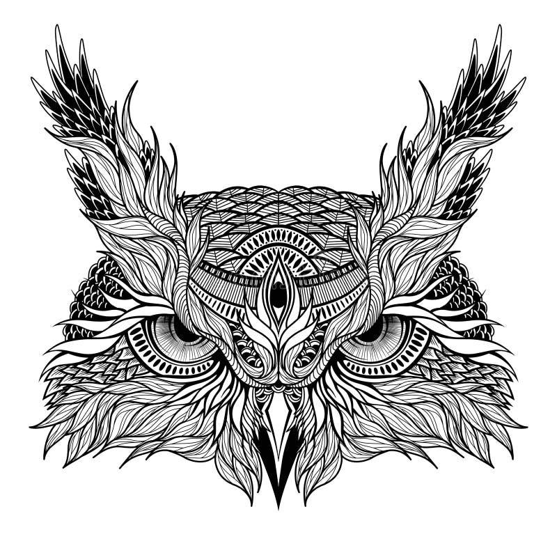 Tatuaggio psichedelico della testa del gufo illustrazione di stock