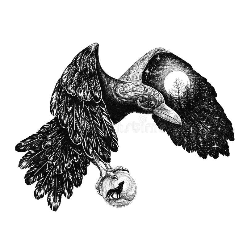Tatuaggio, Raven con una luna piena su un'ala illustrazione vettoriale