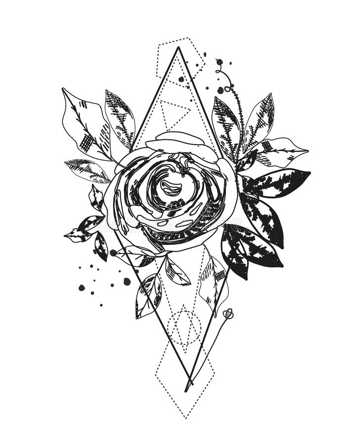 Tatuaggio rosa della siluetta dell'estratto Le forme geometriche del triangolo e sono aumentato Fiori del nero dell'estratto di o illustrazione di stock